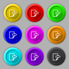 Export file icon. File document symbol. Set of colored buttons.
