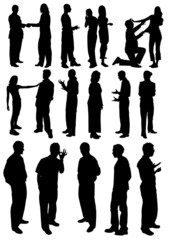 Black and white man and woman sirhouettes. Vector illustration