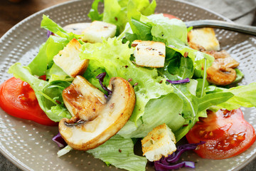 appetizing salad with mushrooms