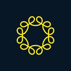 Vector outline frame, monogram design template