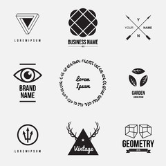 Set of retro vintage badges and label logo graphics