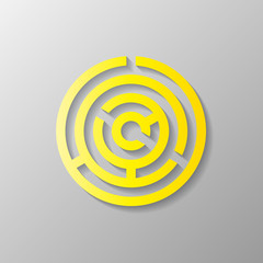Yellow maze, circle design, vector illustration