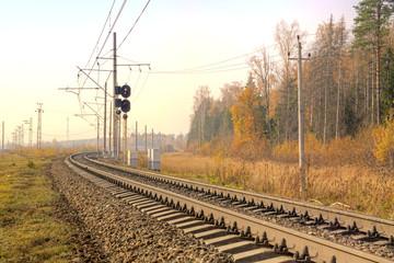 Railway. Autumn landscape