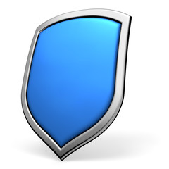 Blue shield on white
