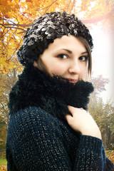 girl in a beret in autumn