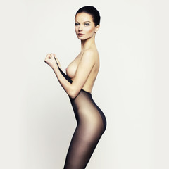 Elegant woman in pantyhose