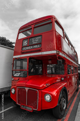 In de dag Londen rode bus Vieux bus à impériale à Londres