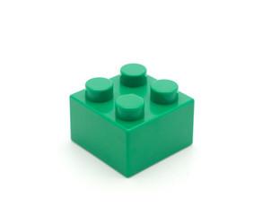 Plastic building blocks on white background