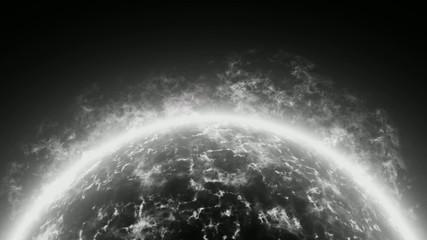 Planet Feueratmosphäre schwarz-weiß,animiert