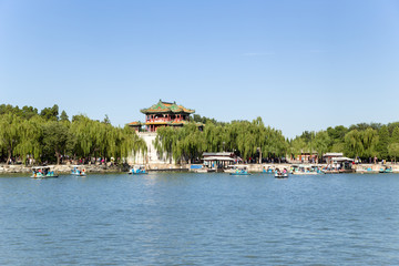 Beijing. View of buildings of Summer Palace from the lake