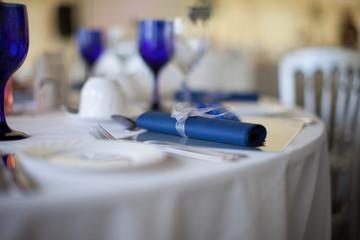 Blue serviette detail on a wedding table