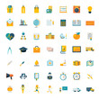 Flat icons big set travel marketing hipster science education