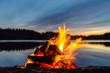 Leinwanddruck Bild - Bonfire on the beach sand