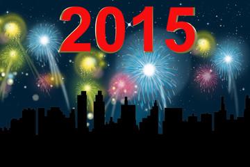 Jahreswechsel 2015 mit Raketen vor Skyline