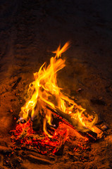 Bonfire on the beach sand