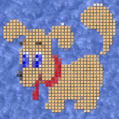 Dog pixelated image generated texture