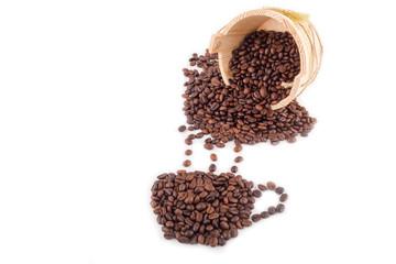 Coffee beans arranged in a coffee mug shape