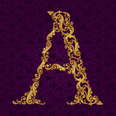 Gold font type letter A, uppercase.