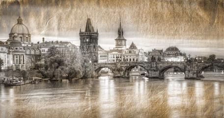 Widok na Most Karola w stylu retro Praga,Czechy.