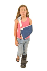 Little Girl With Arm Sling and Foot Cast