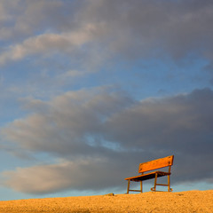 Desert Bench at Sunrise