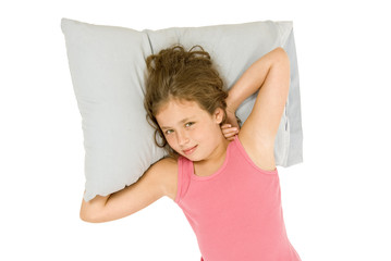 Little Girl Waking Up On Pillow