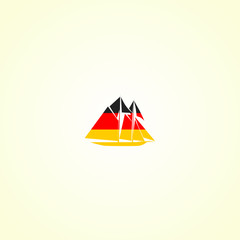 Clipper's silhouette in colour of german flag
