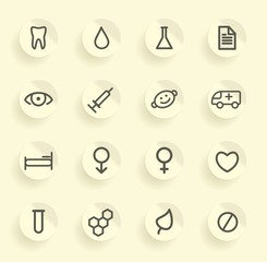 Set of simple medical symbols on stickers