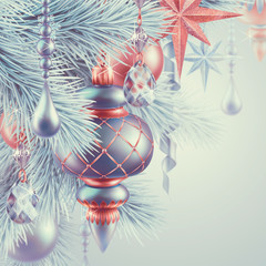 vintage Christmas ornaments, New Year background