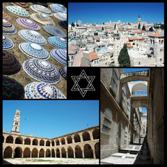 Collage of Israel landmarks, unesco heritage