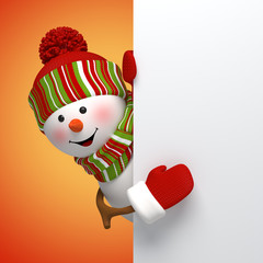 3d snowman New Year banner, winter holiday background