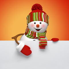 3d  snowman Christmas banner, winter holiday background