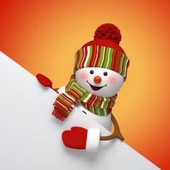3d snowman banner, winter holiday festive template