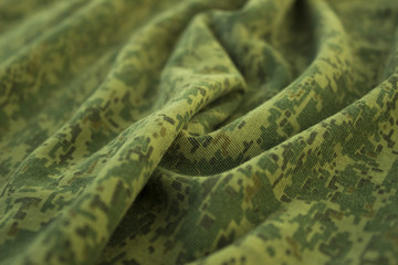 Military wrinkled camouflage fabric