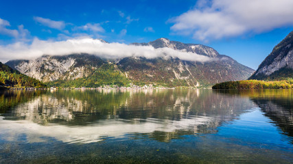 Alps reflecting in the mirror of the lake