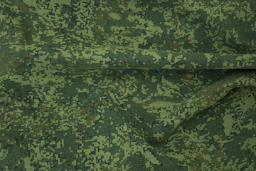 Wrinkled camouflage fabric