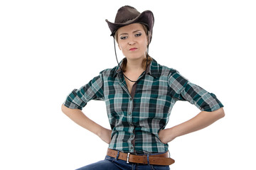 Photo of angry cowgirl