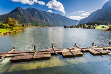 Mountain lake in autumn season