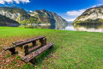 Autumn season in a mountain lake