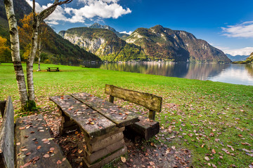 Place to relax at the lake in the mountains