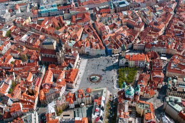 Aerial view of Staromestska squarein Prague, Czech Republic