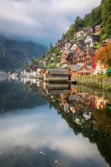 Autumn colors on Lake in Hallstatt