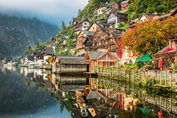 Hallstatt on the lake in autumn