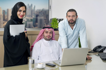 arabian businessman, Woman & Foreigner meeting in office