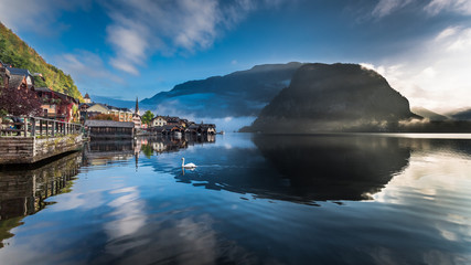 Misty lake at dawn in Hallstatt