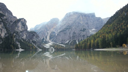 Lake of Braies Italy in middle of dolomiti italian alps mountain
