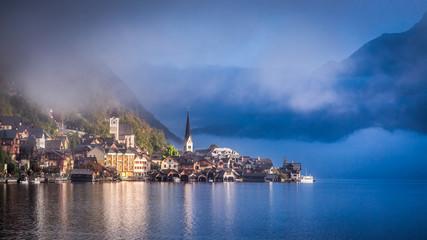 Misty autumn morning in Hallstatt