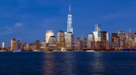 New York City skyline during the blue hour
