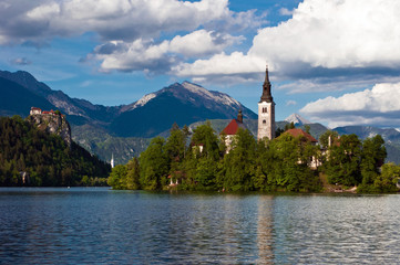 Church of Bled with mountains in background, Slovenia, Europe