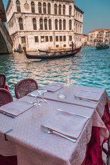 Table in a restaurant in Venice